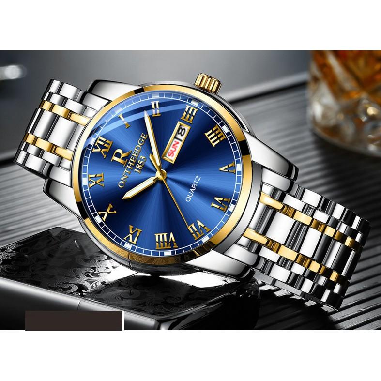 Đồng hồ Ontheedge nam dây thép fullbox RZY031 (demi xanh)