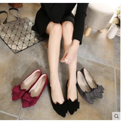 Giày búp bê nữ mũi nhọn họa tiết đính nơ xinh xắn