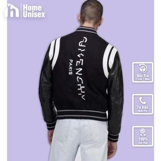 Bomber,áo khoác GIVENCHY tay da viền trắng thêu chữ dọc lưng
