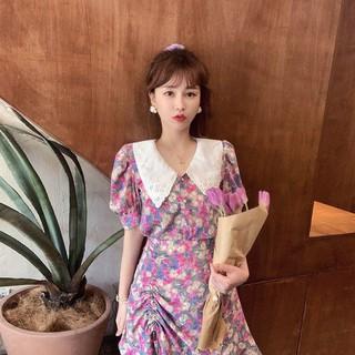[ ORER 7-10 NGÀY] (HÀNG SẴN) Váy hoa xòe ngắn retro màu sơn dầu cổ bẻ sang chảnh tiểu thư tay bồng điệu đà Hàn Quốc