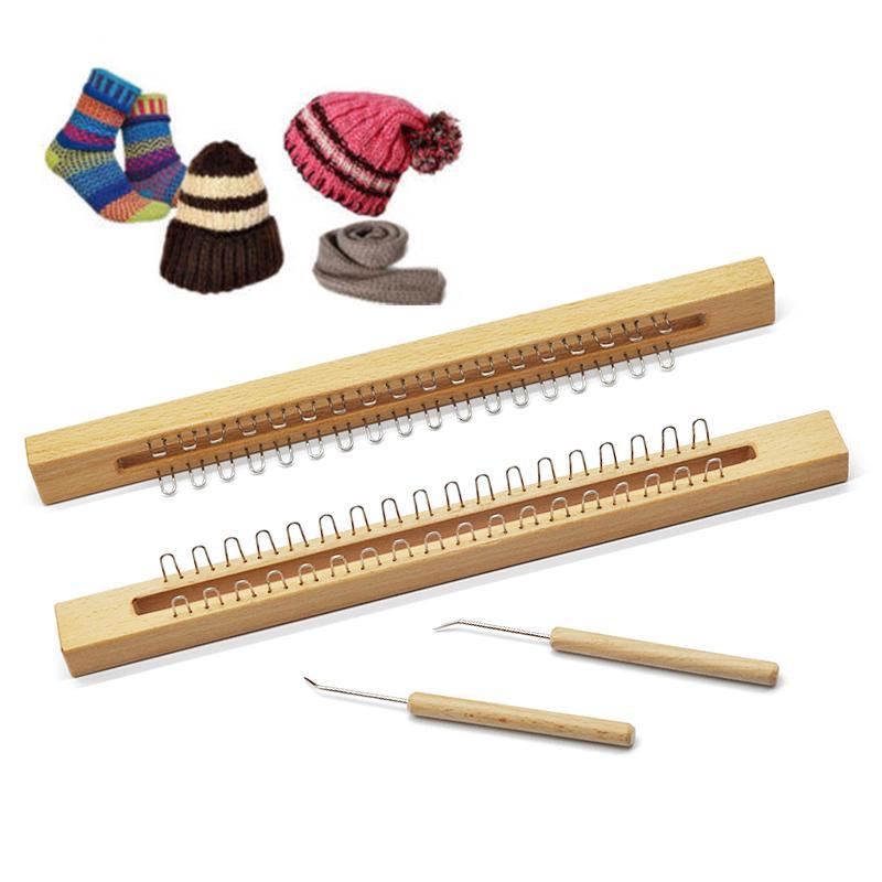 New Handmade 36 Pins Wooden Knitting Loom Board Fine Gage Loom Hook &Needle Kit
