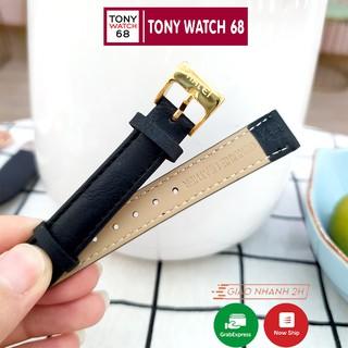 Dây da đồng hồ Halei kích thước 14mm màu nâu đen chính hãng khóa mạ vàng thumbnail
