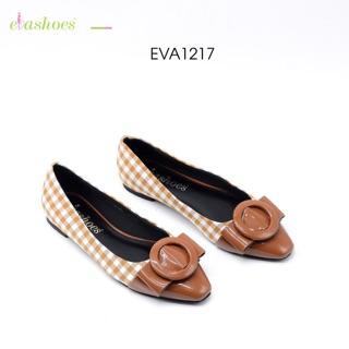 Giày Búp Bê Kẻ Caro Mũi Nhọn Phối Nơ Da Tổng Hợp Evashoes Eva1217 thumbnail