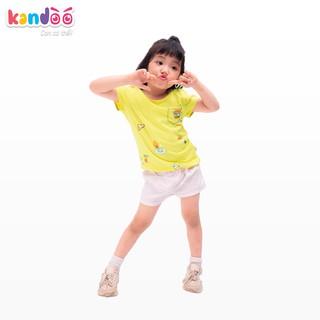 Áo T-shirt bé gái KANDOO màu vàng, in hình đáng yêu thoải mái hoạt động, 100% cotton cao cấp mềm mịn,thoáng mát-DGTS1737
