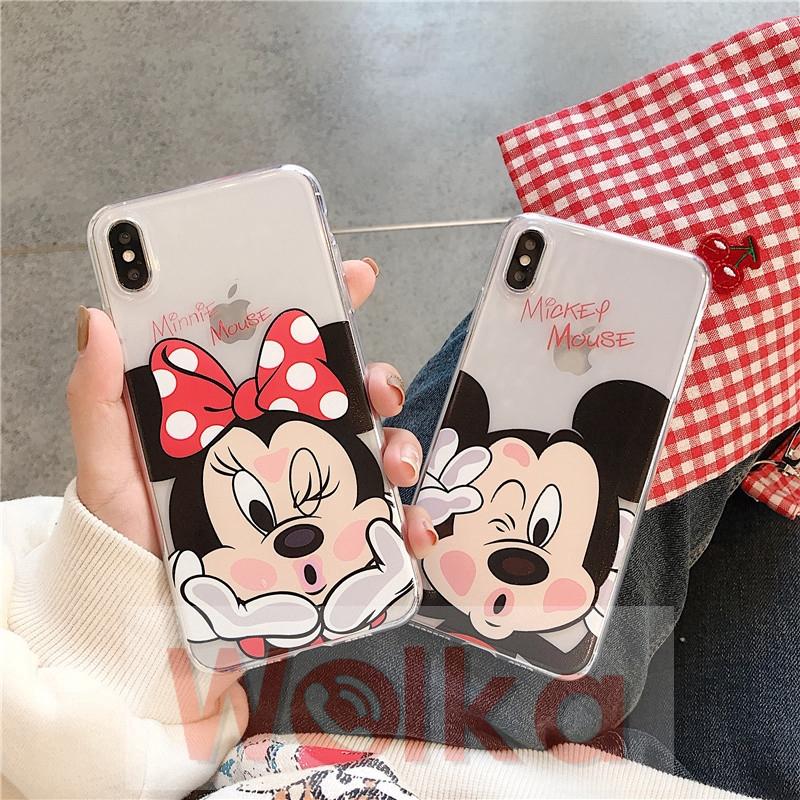 Ốp điện thoại mềm in hình chuột Mickey Minnie cho iPhone 12mini 12 Pro Max 6s 6 7 8 Plus iPhone 11 Pro Max X XR XSMAX