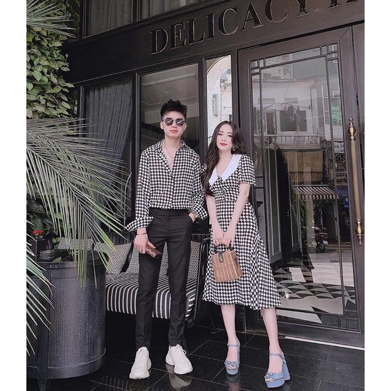Mặc gì đẹp: Xinh xinh với Áo Váy đôi 🌼FREESHIP🌼 váy áo đôi sơ mi caro trắng đen dễ thương chụp ảnh dự tiệc