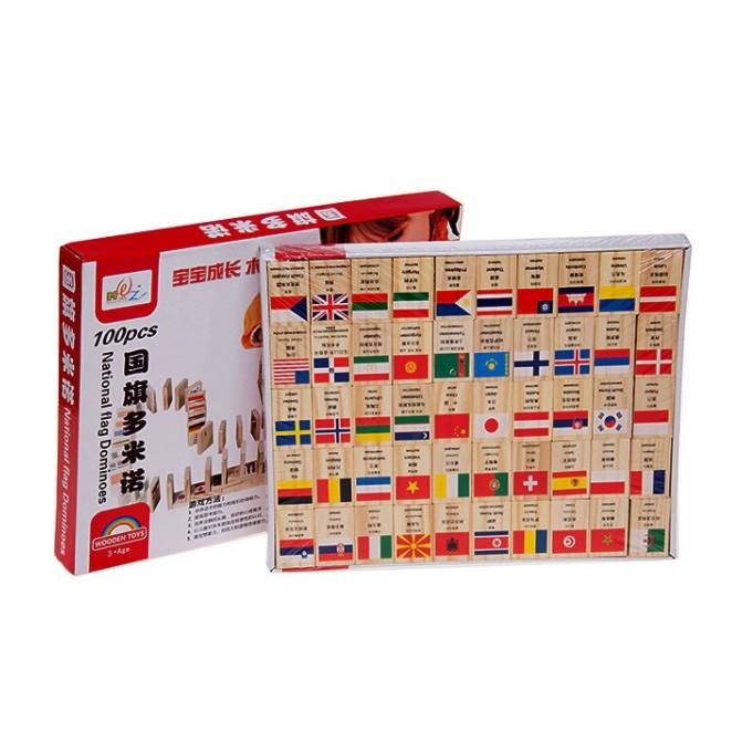 Domino gỗ 100 hình cờ các quốc gia