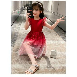 Đầm Váy Ren Lưới Bầu Trời Đầy Sao Lung Linh Cho Bé Gái Dạo Phố Xuân