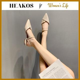 Giày búp bê nữ đi học mũi nhọn 2 cm phối dây HEAKOS, Dép đi học, đi chơi cá tính Hàn Quốc (BH KEO 1 NĂM) G01 thumbnail