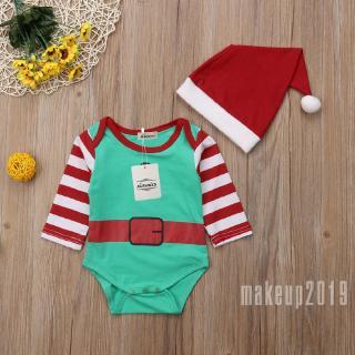 Mu♫-Hot Santa Claus Cute Casual Soft Baby Long Kids Winter Warm Bodysuit + Fashion Cute Hat Clothes