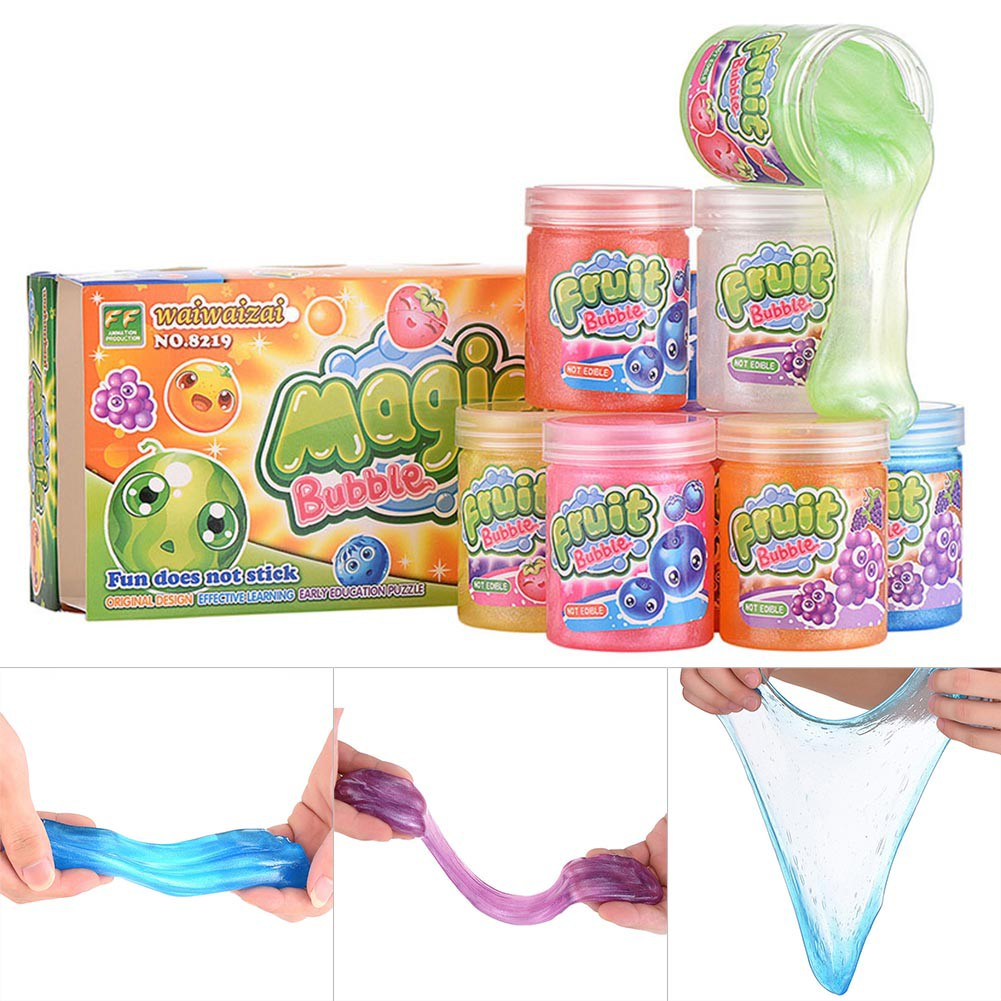 Clear Mud Slime Clay Plasticine Toy Stress Relief DIY Blowing Bubble For Children Kids