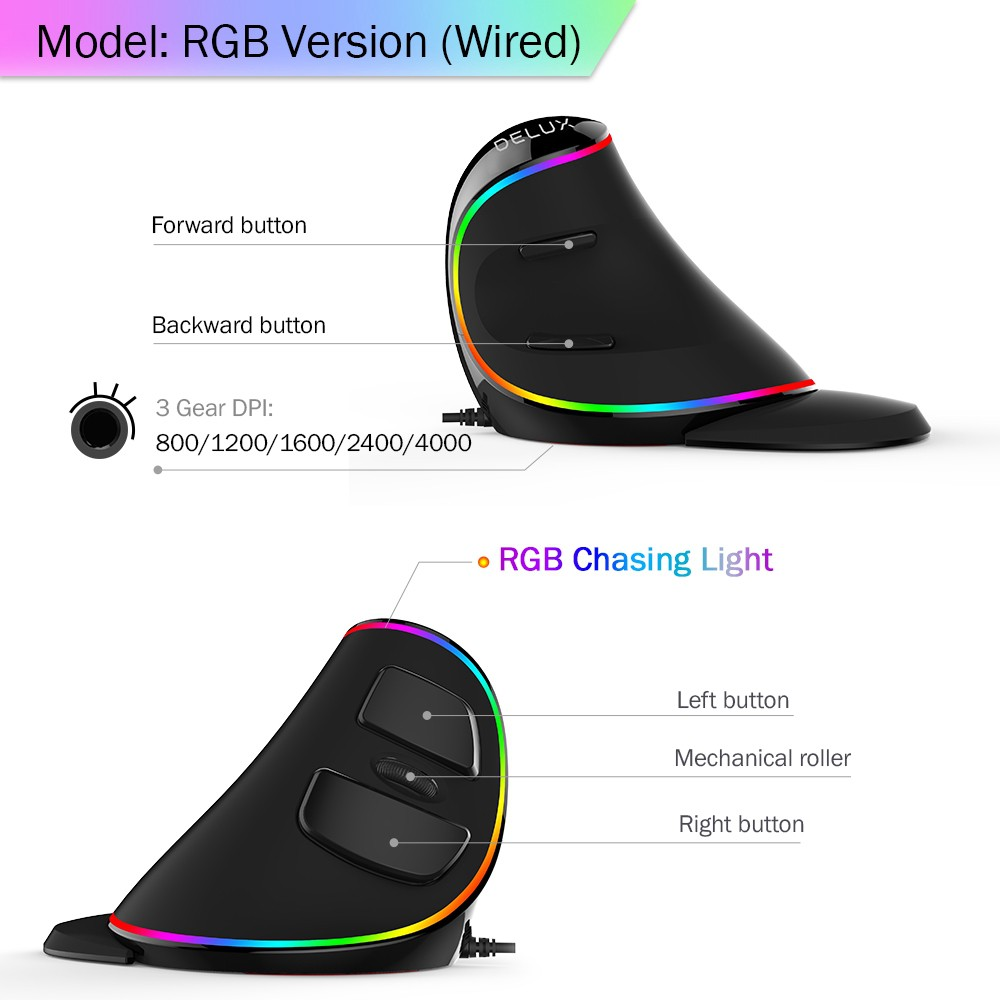 PC DELUX chuột không dây Đèn Led Rgb M618 Plus