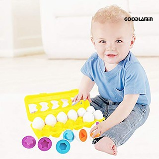 12Pcs Matching Simulate Eggs Shapes Colors Number Sorter Educational Toy