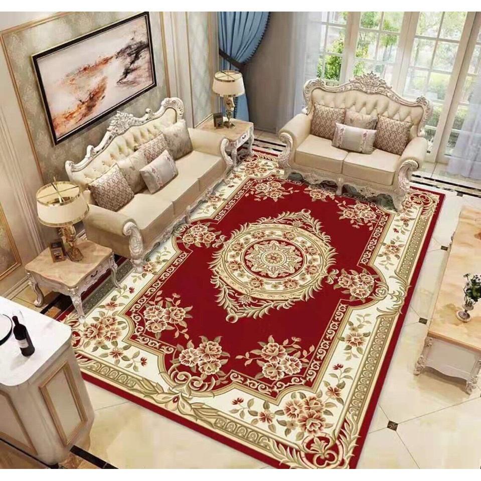 Thảm trải sàn bali 5D mẫu hoàng gia đỏ 1m6x2m3