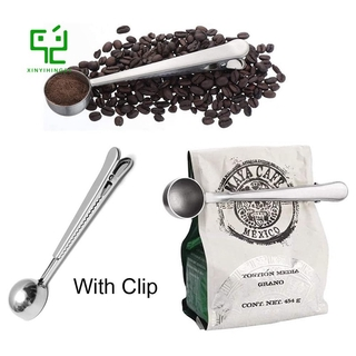 2 in 1 Coffee Spoon with Bag Clip, Multifunction Stainless Steel Ground Coffee Spoon with Bag Seal Clip