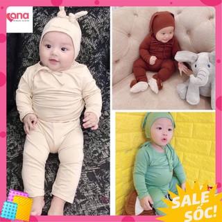 Bộ tai thỏ dài tay bé trai bé gái Minky [Tặng mũ] đồ bộ dài tay cho bé trai bé gái quần áo trẻ em thun lạnh cạp cao hot