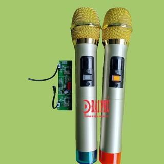 Micro không dây đôi UHF loa kéo tần số 770.85Mhz - 795.85Mhz bắt sóng xa - thân nhôm - phím bấm, micro cho loa kéo