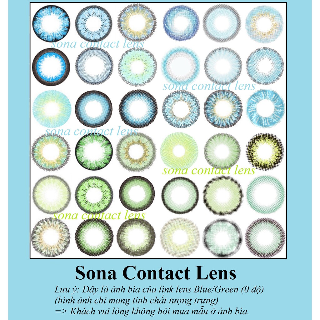 20 Mẫu Lens Blue/Green (0 độ) Sona Hàn Quốc + khay đựng (kính áp tròng xanh lá/xanh dương Sona Hàn...