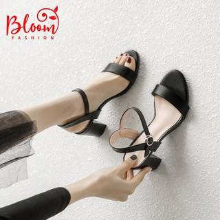 Sandal cao gót 7p đế vuông hở mũi da bóng Sandal nữ quai ngang cao gót BLOOMFASHION H0506