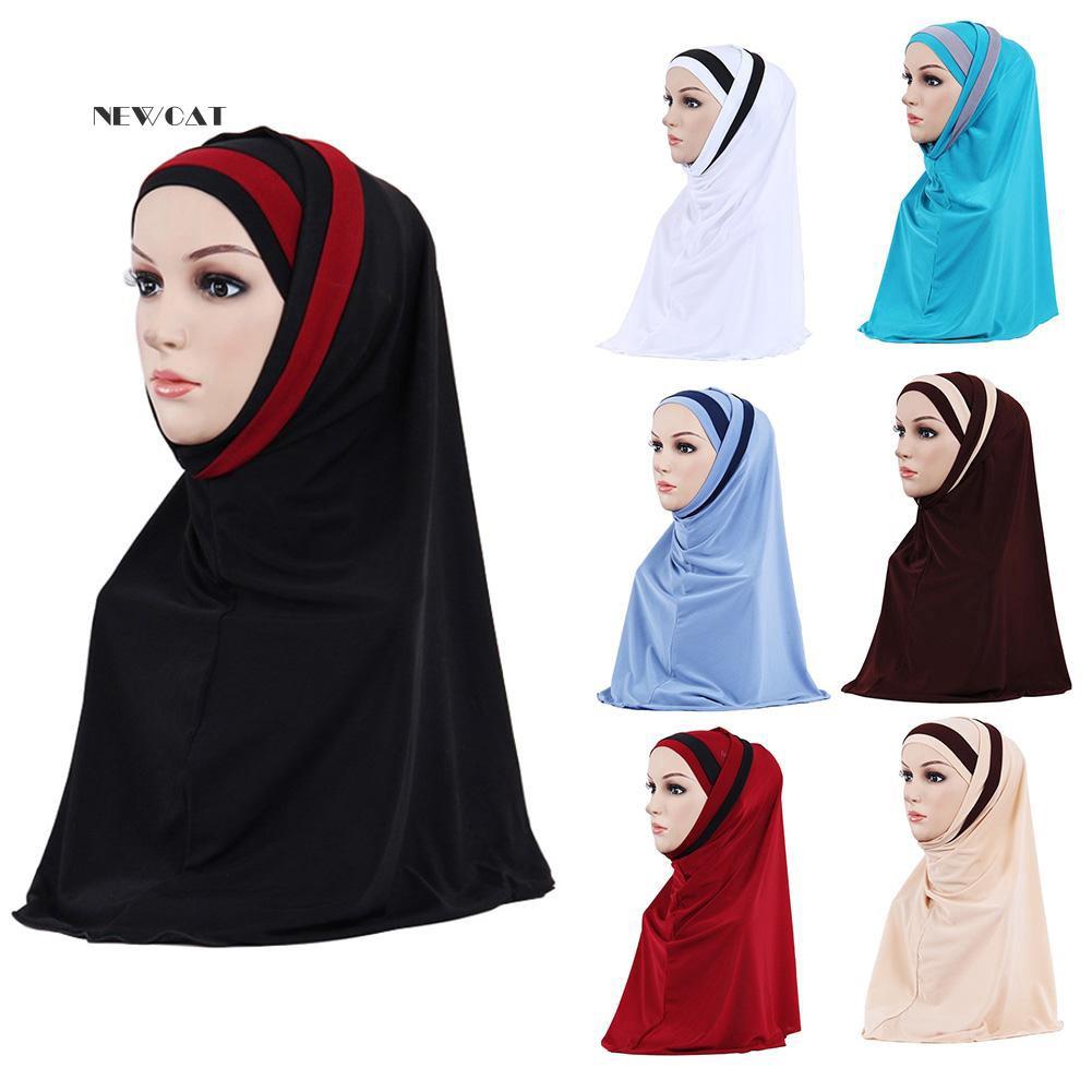 ღNK_Fashion Double Color Splicing Women Scarf Muslim Hijab Head Wrap Headscarf