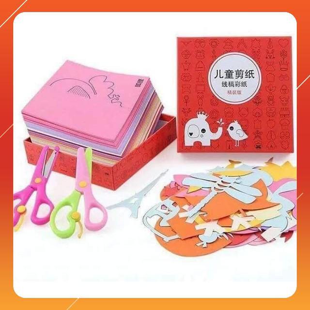 [SIÊU KM] Combo 2 bộ đồ chơi cắt giấy tạo hình đa dạng 240 tờ tặng kéo – RẺ NHẤT VN