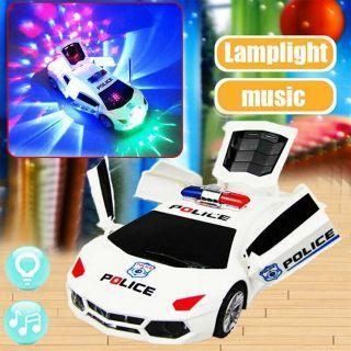 Đồ chơi xe cảnh sát biến hình, xoay 360, có đèn, có nhạc