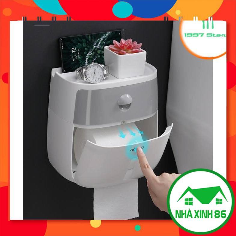 Hộp Đựng Giấy Vệ Sinh ECOCO Cao Cấp Có Nắp Để Điện Thoại l Hộp giấy vệ sinh ecoco 2 tầng, để điện thoại