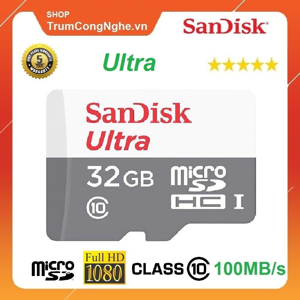 [Mã ELFLASH5 giảm 20K đơn 50K] Thẻ nhớ MicroSD 32GB Sandisk Ultra 100MB/s 667x Class10 Tốc độ cao