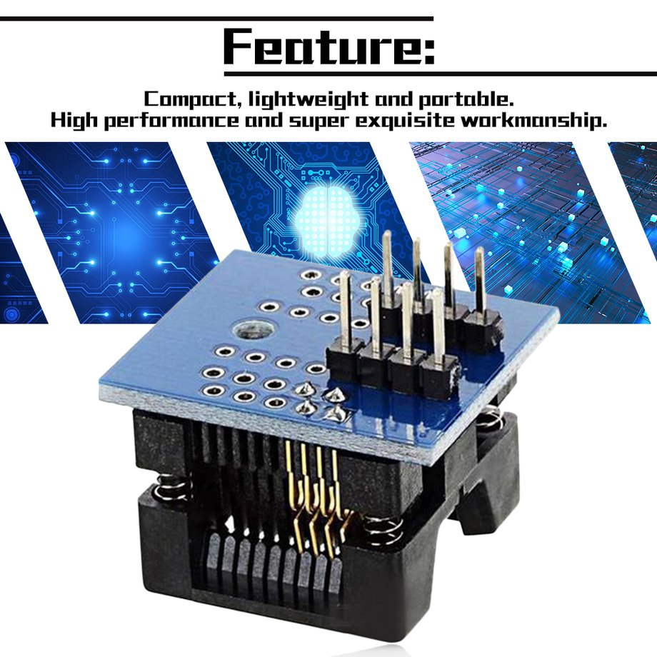 SOP8 to DIP8 Wide-body Seat Wide 200mil Pitch Programmer Adapter Socket Blue