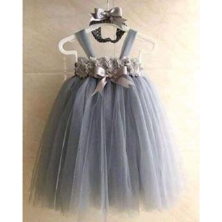 Đầm tutu cho bé ❤️FREESHIP❤️ Đầm tutu xám hoa 3D