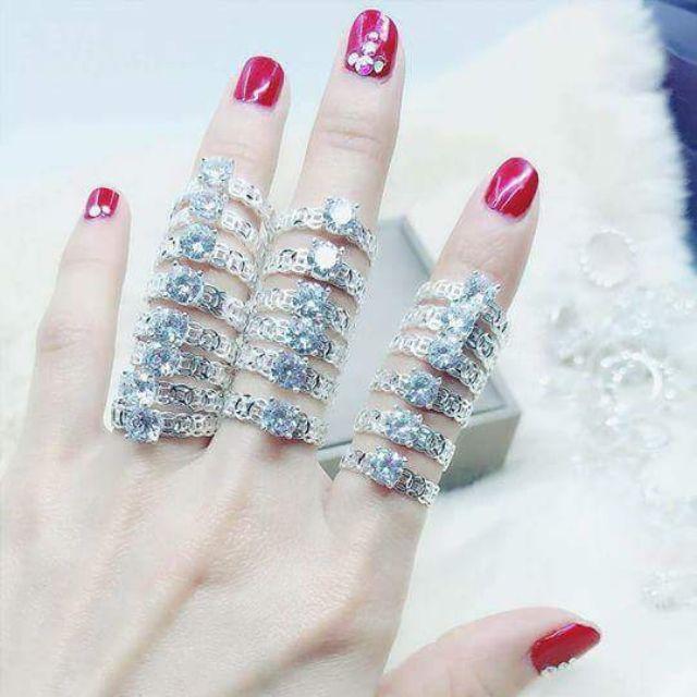 Nhẫn bạc kim tiền đính đásiêu sáng, siêu bóng bảo hành trọn đời