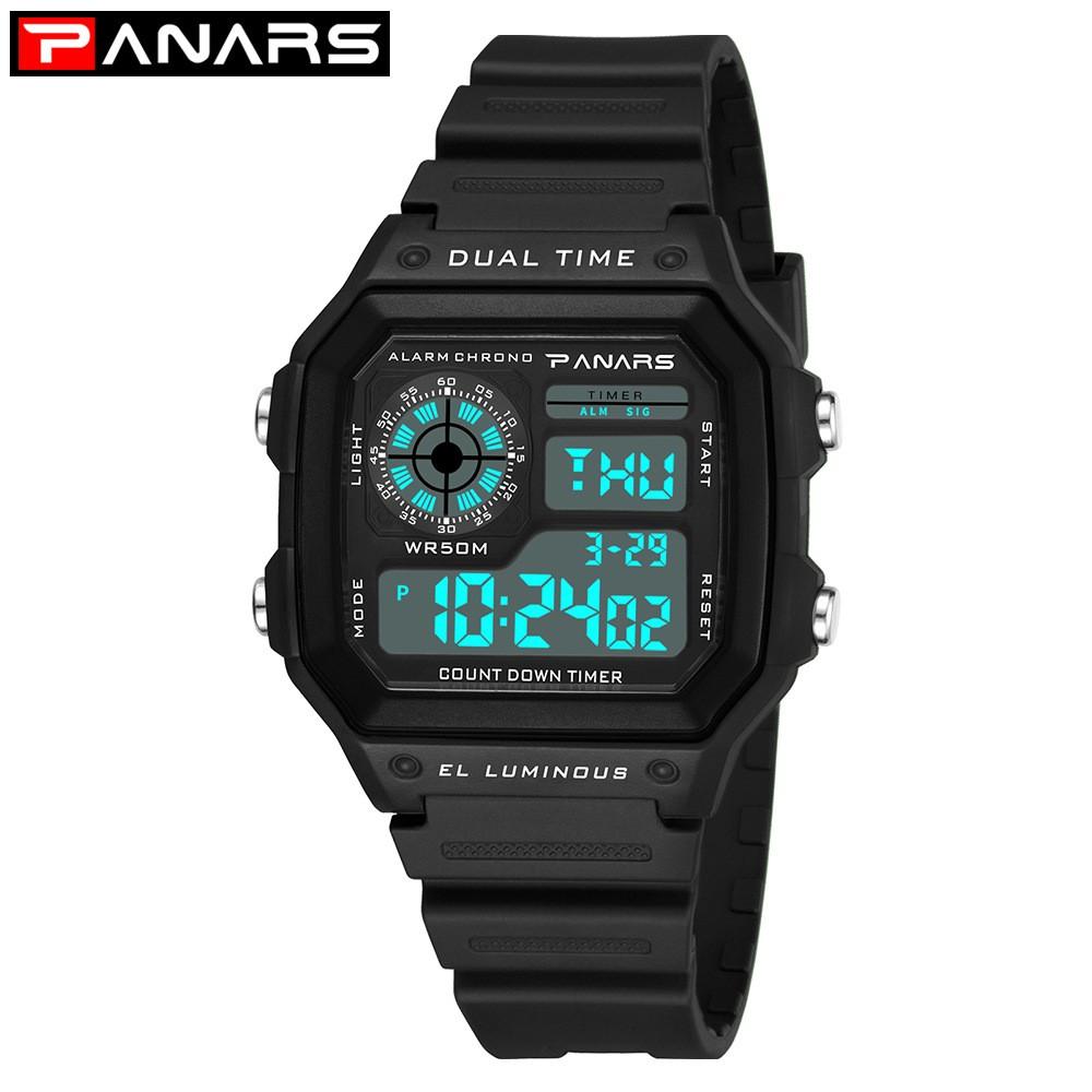 Đồng hồ thể thao thời trang nam PANARS 8114 chống nước màu Đen