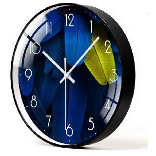 (HÀNG LOẠI I) Đồng hồ treo tường LÔNG VŨ XANH kim trôi - Loại 30cm - Tặng kèm pin và móc treo