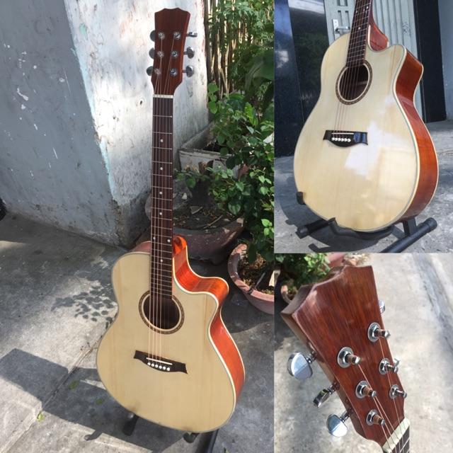 Guitar guitar acoustic gỗ hồng đào SVA2 nguyên tấm có ty chống cong - kèm 6 phụ kiện