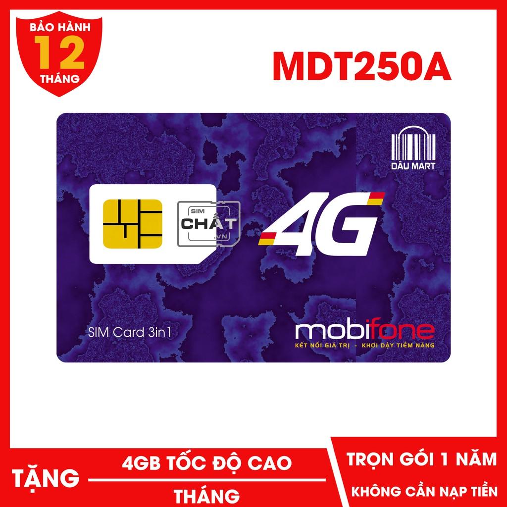 [Mã ELFLASH5 giảm 20K đơn 50K] SIM 4G Mobifone MDT250A MDT135A Dùng DATA Trọn Gói 1 Năm Không Cần Nạp Tiền Với 4GB/Tháng