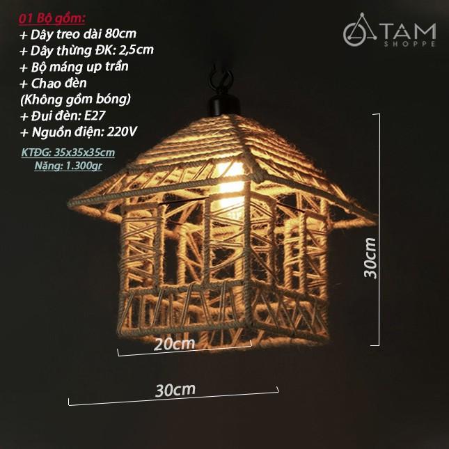[CAO CẤP - KÈM ÚP TRẦN] Đèn thả trần dây thừng khung sắt ngôi nhà FE-ĐTTDT-07