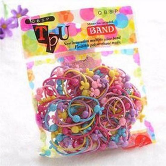 Set 50 chun buộc tóc bé gái nhiều màu sắc cho b