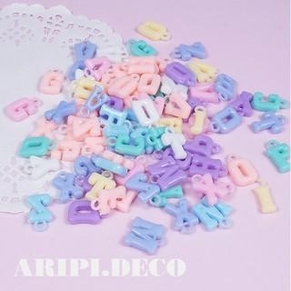 Hạt acrylic chữ treo pastel xỏ lỗ /Nguyên liệu làm slime resin trang trí vòng tay