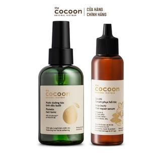 Combo Nước dưỡng tóc tinh dầu bưởi Cocoon 140ml Sa-chi Serum phục hồi tóc Cocoon 70ml
