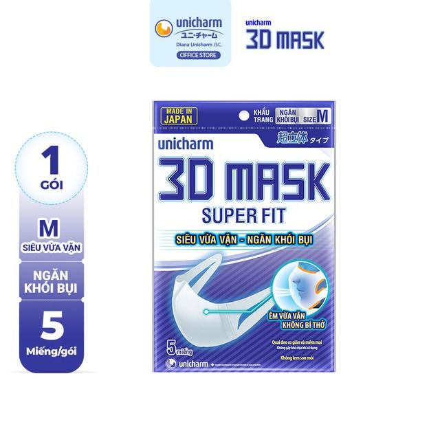 [Mã COSMALL27 -10% ĐH250k]Khẩu trang ngăn khói bụi Unicharm 3D Mask Super Fit size M gói 5 cái
