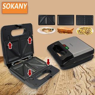 Máy nướng bánh, làm bánh waffle đa năng 3 khuôn tiện lợi Chính hãng Sokany
