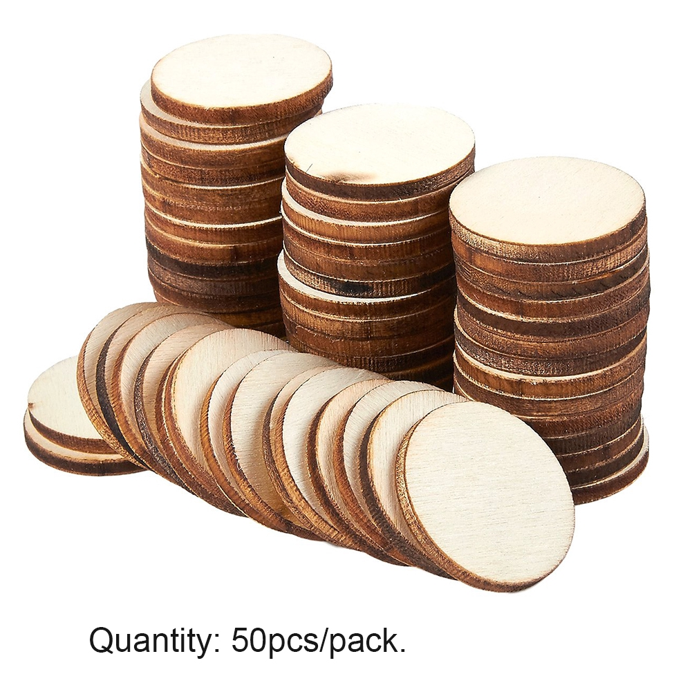 50pcs/pack Centerpieces Card Making Home DIY Craft Painting Wedding Decoration Rustic Ornaments Round Blank Wood Slices