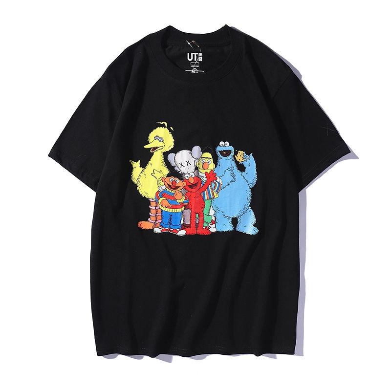 Áo tay ngắn cổ tròn in hình nhân vật trong Sesame Street độc đáo cho nam