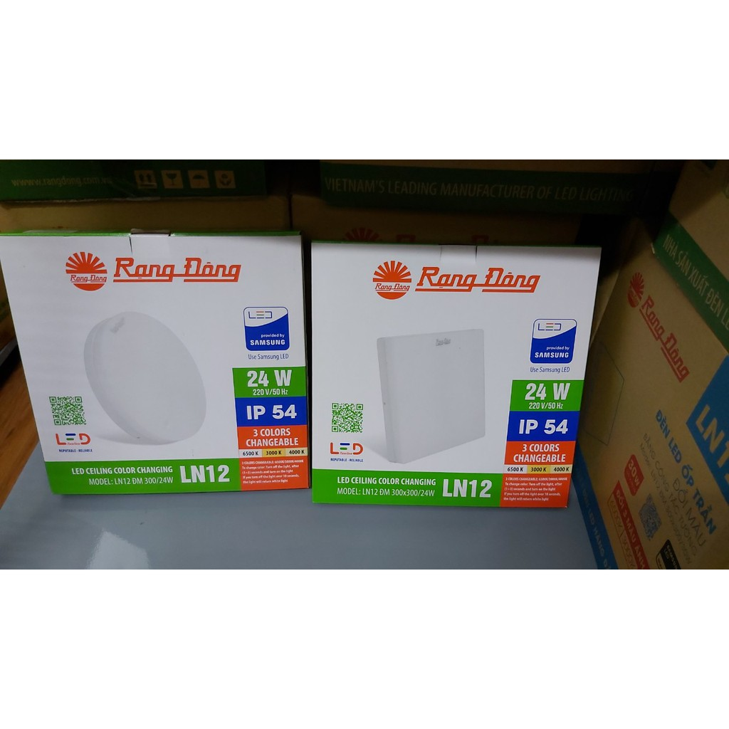 Đèn LED Ốp Trần Tràn Viền Đổi Màu Rạng Đông 24W Vuông/ Tròn