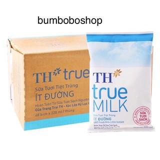 Thùng 48 bịch sữa TH ít đường 220ml