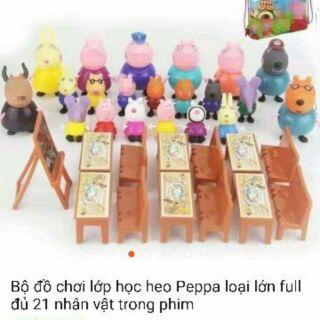 (Sỉ 138k) Bộ đồ chơi lớp học heo Peppa loại lớn full đủ 21 nhân vật trong phim