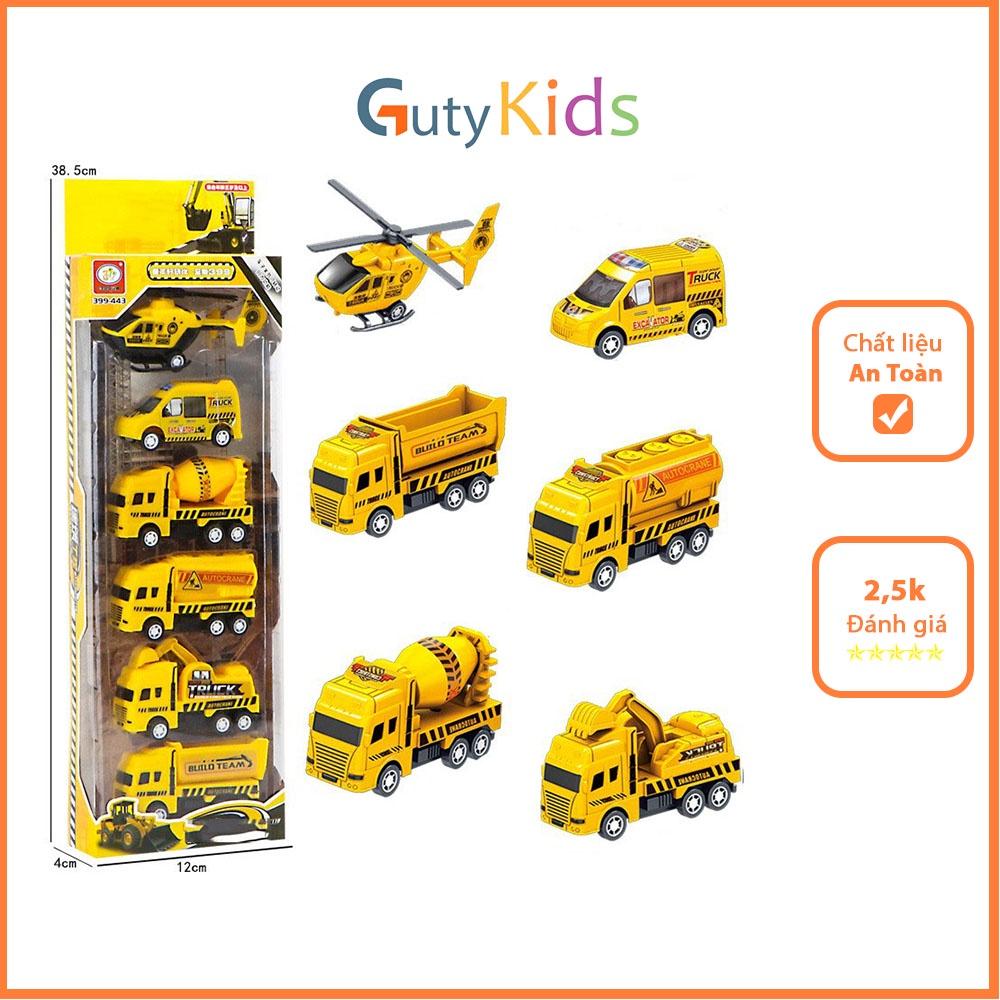 Set 6 ô tô mô hình công trình xây dựng cho bé, đồ chơi cho bé thoả sức sáng tạo