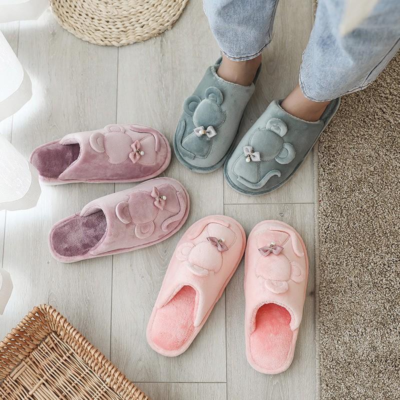 รองเท้าผ้าฝ้ายเทรนด์รองเท้าแตะหญิงฤดูหนาวน่ารัก 2019 สวมใส่ใหม่ในร่มขนตุ๊กตาอบอุ่น