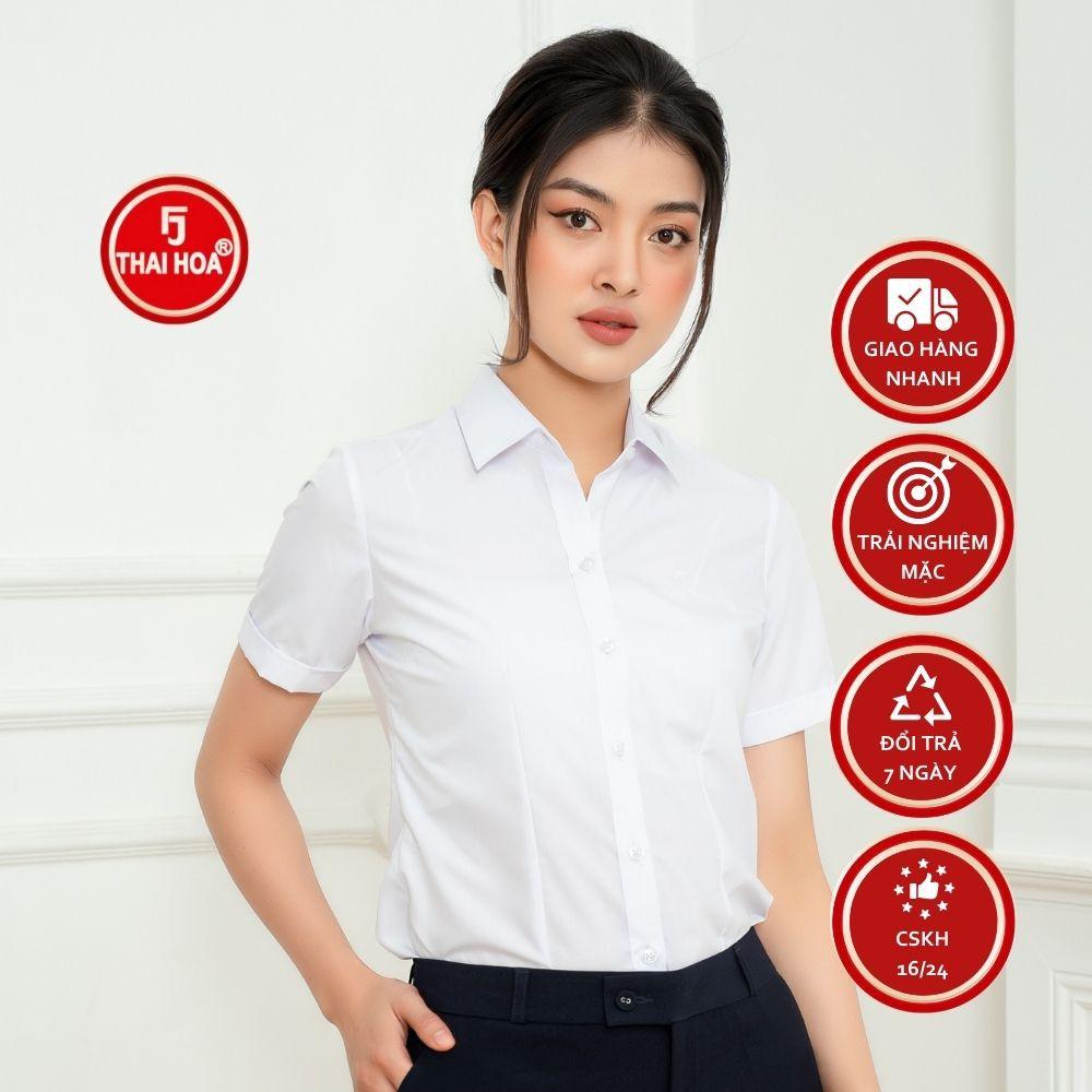 Áo sơ mi nữ Thái Hòa công sở ngắn tay màu trắng vải sợi tre siêu thoáng N8919-01-01