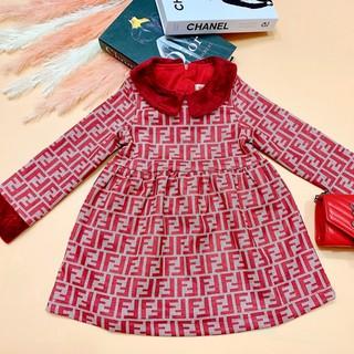 Đầm Bé Gái Nhung Đỏ Thương Hiệu Sang Chảnh